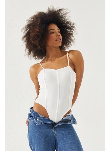 Reyon REYON Kadın Çıtçıtlı Askılı Bluz Beyaz Beyaz